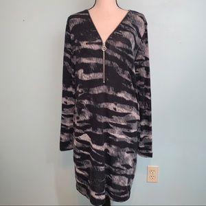 Michael Kors Long Sleeve Animal Print Dress